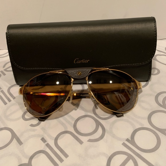 a0306552fe0 Cartier Men s Rimmed Sunglasses 18kt Gold 58mm